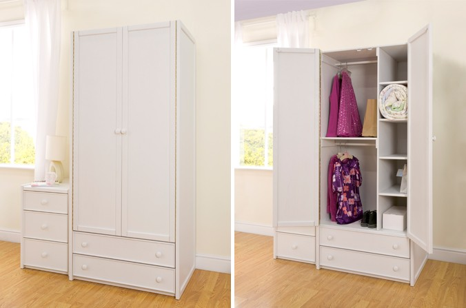 White double combi wardrobe childrens bed centres for Childrens wardrobes uk