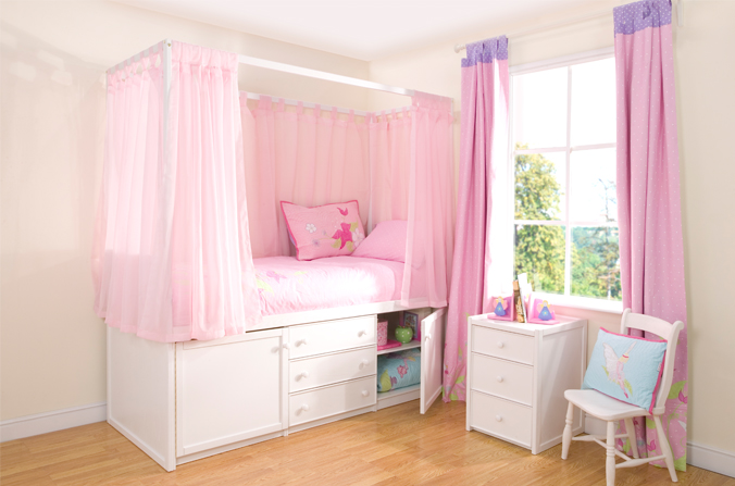Pink bunk bed curtains - Home 187 Kids White Four Poster Cabin Bed