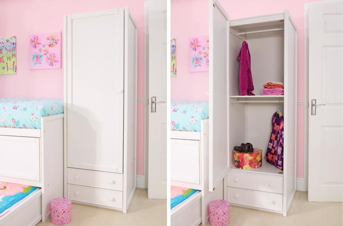 White Single Combi Wardrobe | Childrens Bed Centres