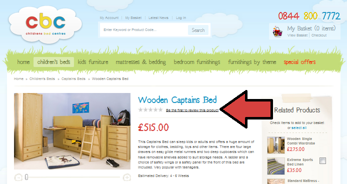 Childrens Bed Centres encourage customers to leave a product review