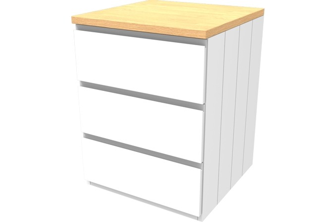 Armada White Three Drawer Chest