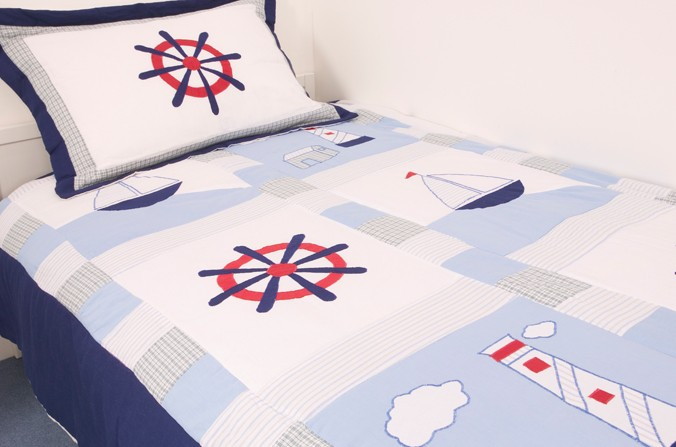 Breezy Ships Bedspread and Pillowsham