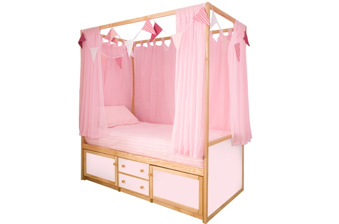 Children's Four Poster Bed - Available in Pink & White Panel