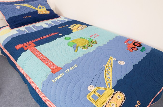 Construction Quilt and Pillowsham - Single