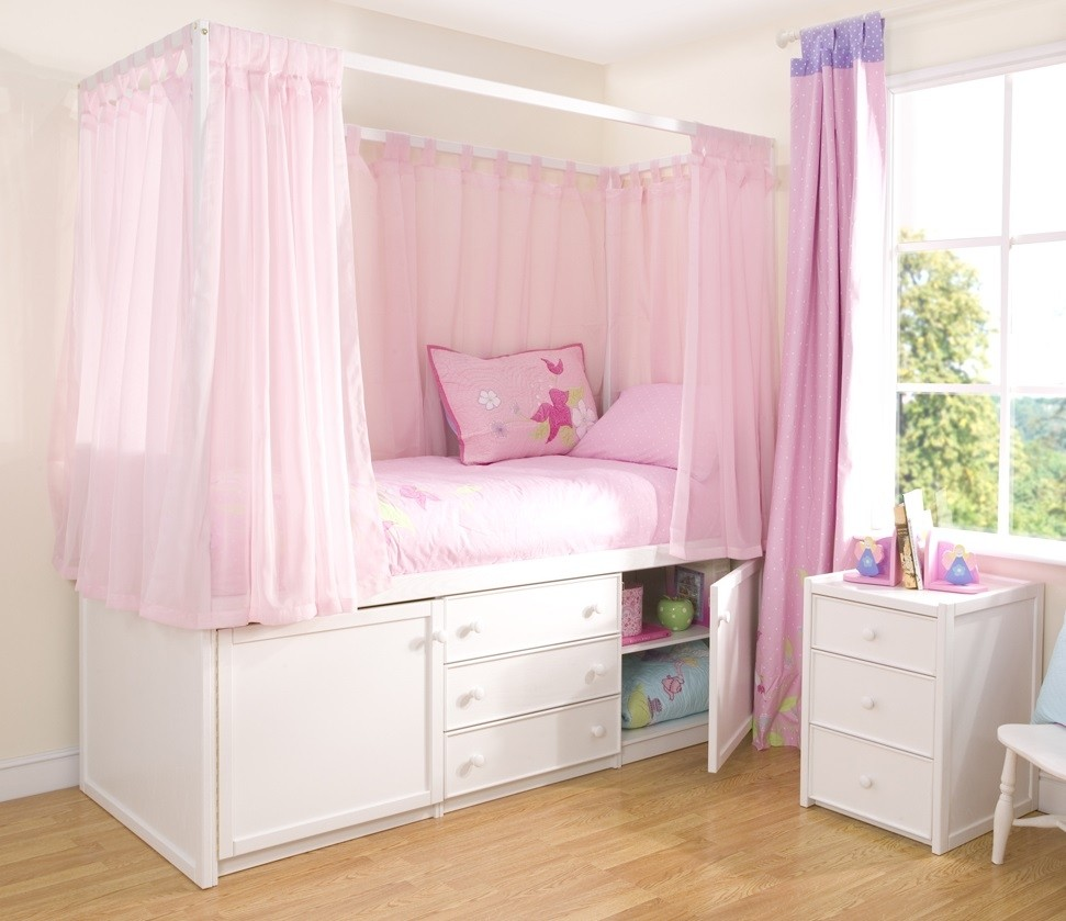 Kids White Four Poster Cabin Bed