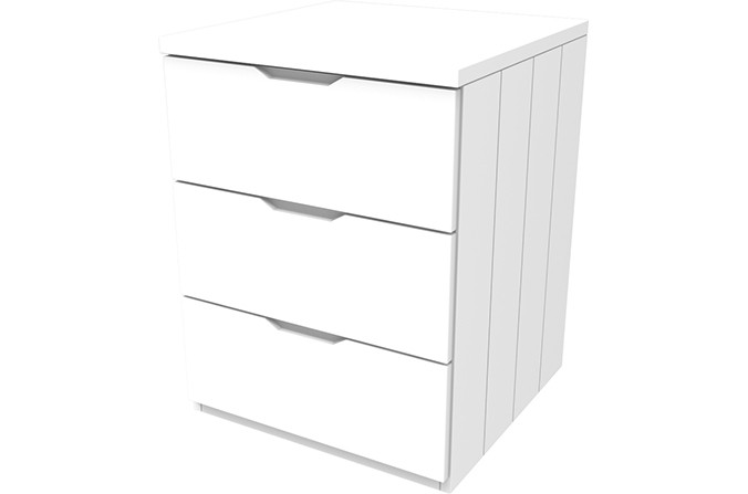Savannah White Three Drawer Chest