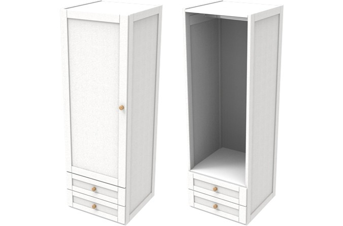 Sierra White Single Combi Wardrobe