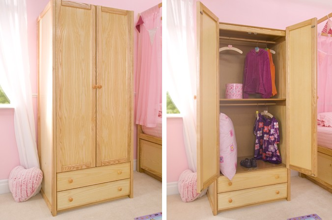 Wooden Double Combi Wardrobe
