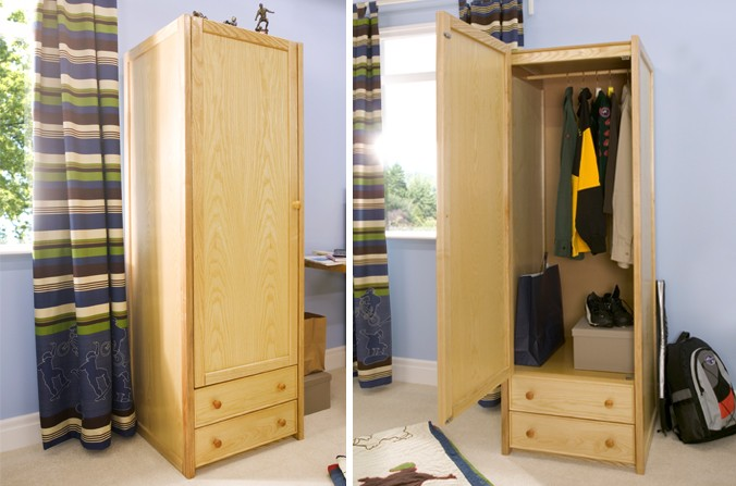 Wooden Single Combi Wardrobe