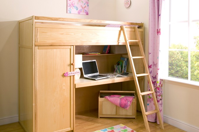 Wooden Study Bed Childrens Centres, Bed Above Desk