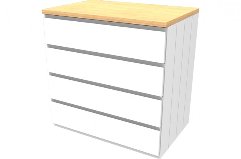 Armada White Four Drawer Chest