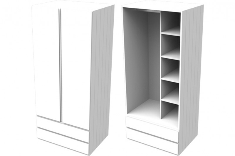 Armada White Double Combi Wardrobe
