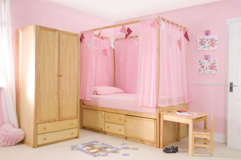 Children's Wooden Four Poster Bed
