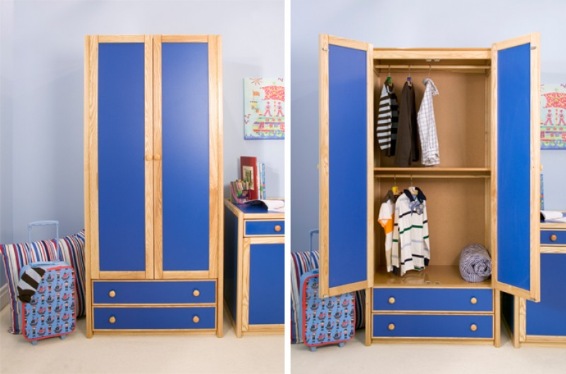 Kids Double Combi Wardrobe - Available in Blue and Pink