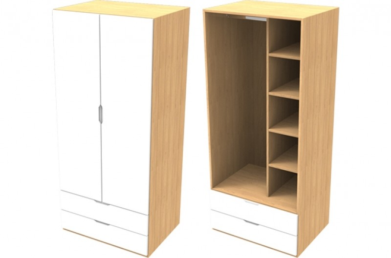 Savannah White Double Wardrobe with Drawers