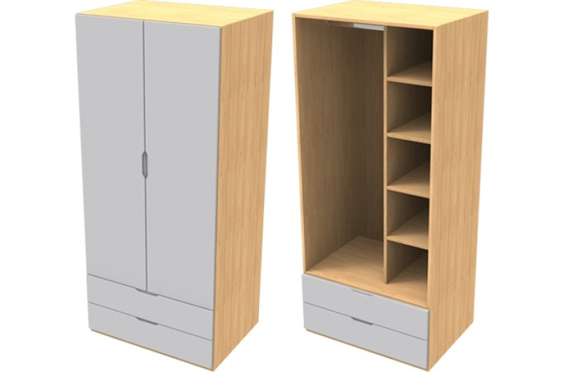 Savannah Grey Double Wardrobe with Drawers