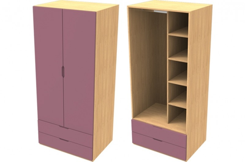 Savannah Pink Double Wardrobe with Drawers