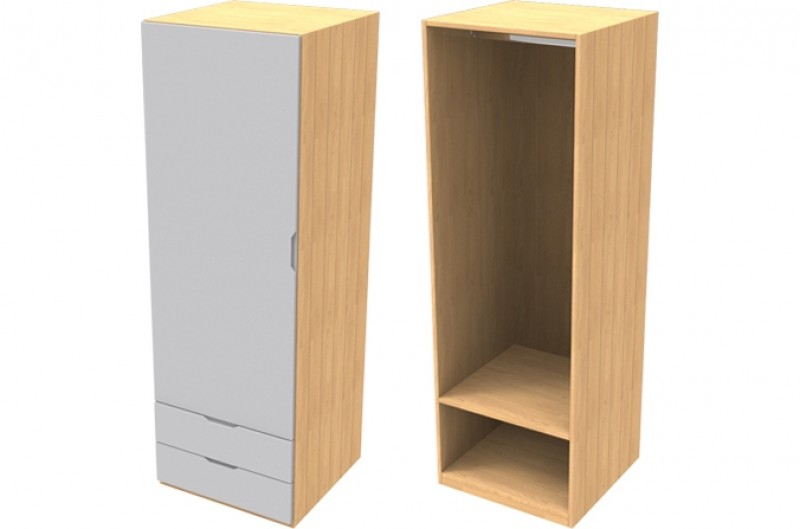 Savannah Grey Single Wardrobe with Drawers