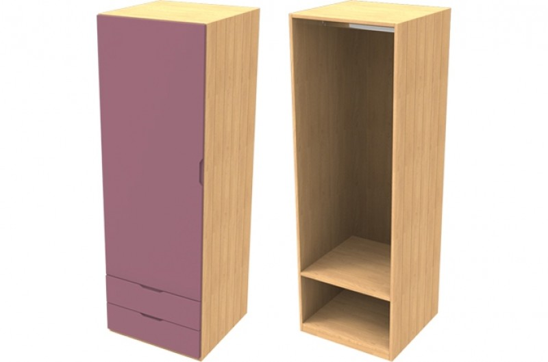 Savannah Pink Single Wardrobe with Drawers