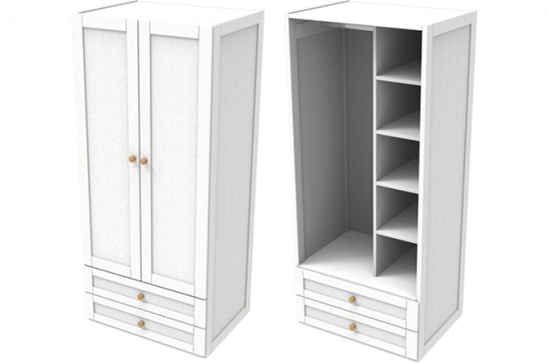 Sierra White Double Combi Wardrobe