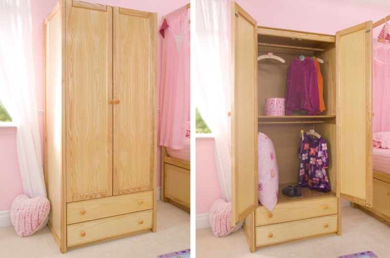 Wooden Double Combi Wardrobe