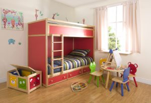 Red bunk bed