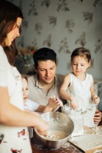 Kids baking with parents